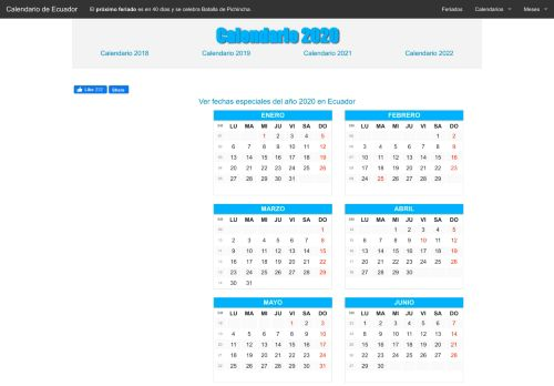 calendarioecuador.net Desktop Screenshot