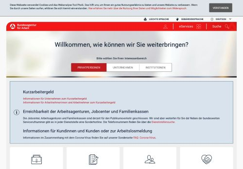 arbeitsagentur.de Desktop Screenshot