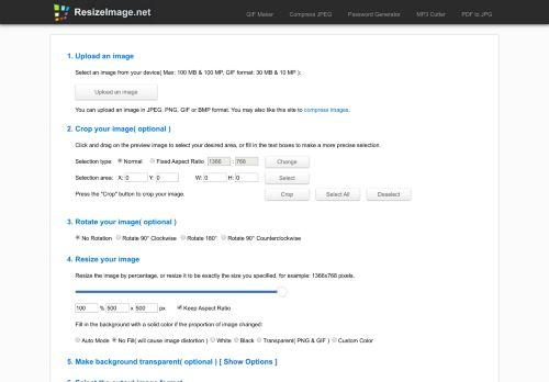 resizeimage.net Desktop Screenshot