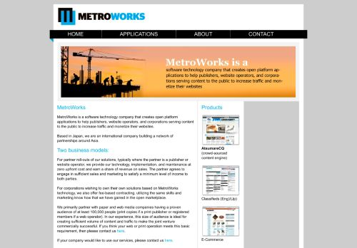 metroworks.co.jp Desktop Screenshot